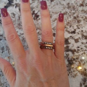 Lia Sophia Stacked Gold Silver Bronze Ring As 6